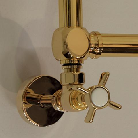 IRSAP Minuette chromový koupelnový radiátor detail - zlato
