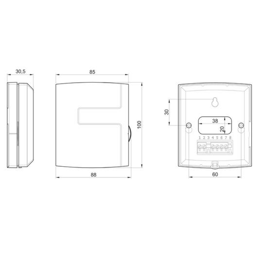 Systemair EC-Basic-T regulátor teploty - rozměry