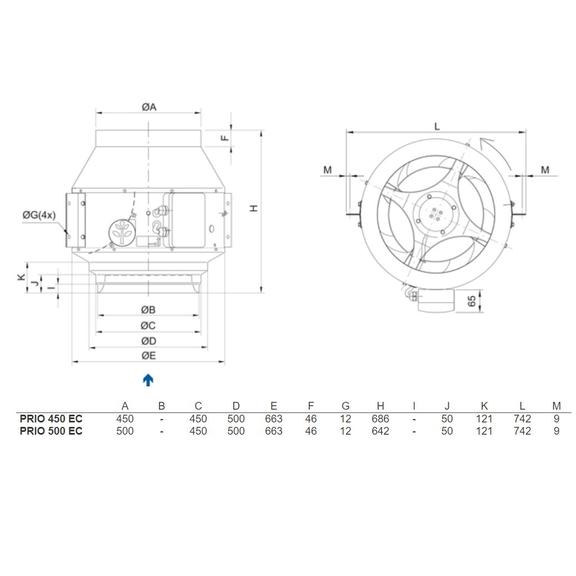 Systemair prio 450 3~ EC kruhový ventilátor - rozměry