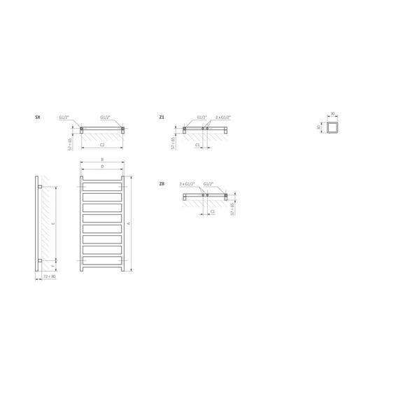 TERMA Simple designový radiátor Schéma