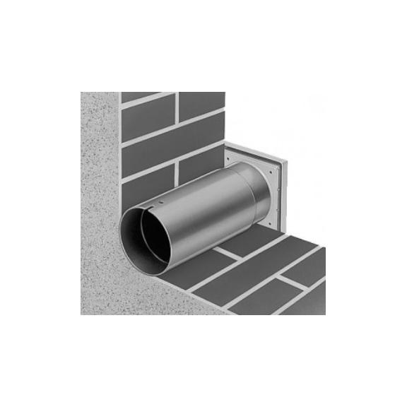 Helios Teleskopický prostup stěnou + exteriérová mřížka WES 100 - detail prostupu a mřížky