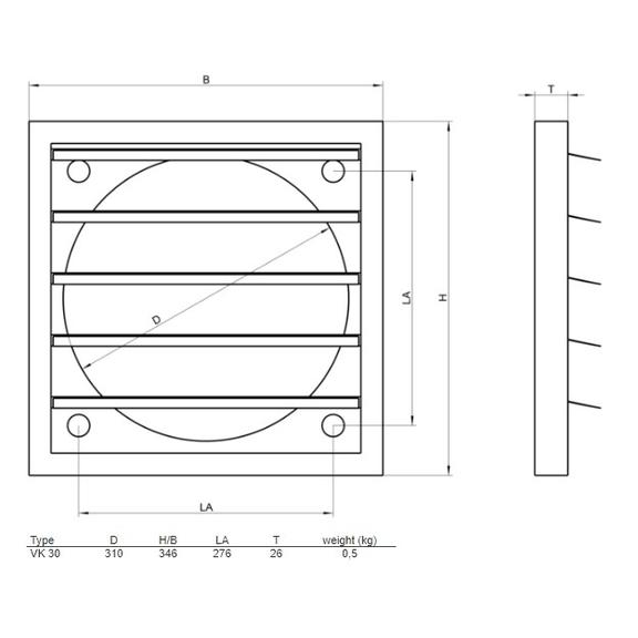Systemair VK-30 žaluzie - rozměry