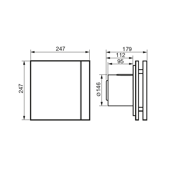 Ventilátor Silent 300 Design CZ - rozměry