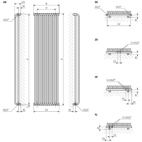 TERMA Delfin designový radiátor Schéma pro vertikální verzi