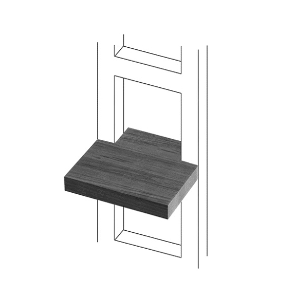 TERMA Dřevěná polička na ručníky Easy 20 cm