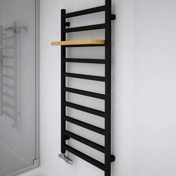 TERMA Simple designový radiátor 1200x500 Heban - polička