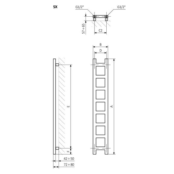 TERMA Easy vertikální designový radiátor - Schéma - rozměry
