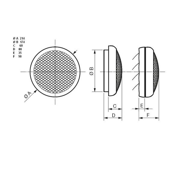 Okenní ventilátor HCM 150 - rozměry