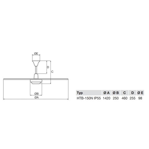 Soler & Palau HTB 150 RC IP55 stropní ventilátor - rozměry