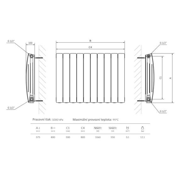 TERMA Camber vodní radiátor pod okno - technický nákres
