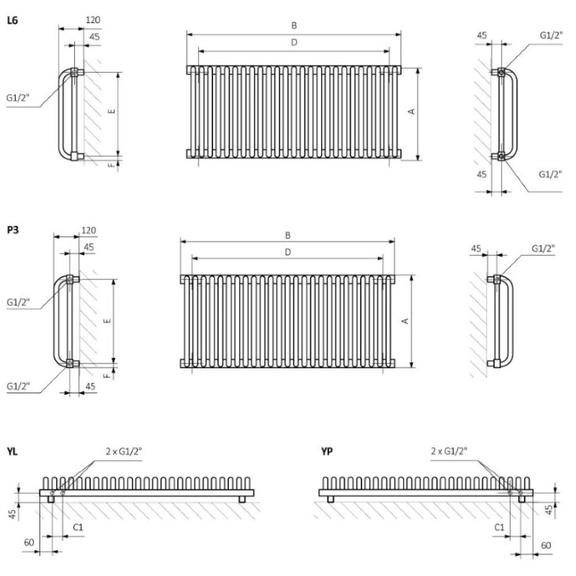 TERMA Delfin designový radiátor Schéma pro horizontální verzi