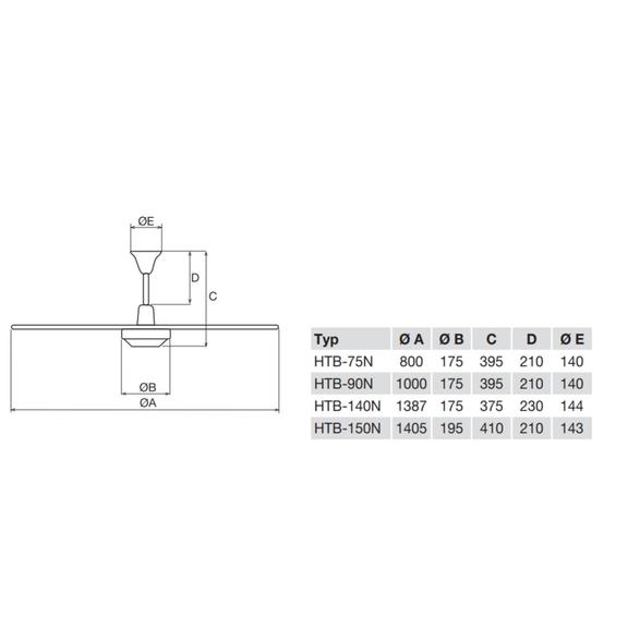 Soler & Palau HTB 75 RC IP44 stropní ventilátor - rozměry