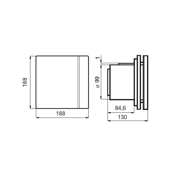 Ventilátor Silent 100 Design CZ SWAROVSKI bílý - rozměry